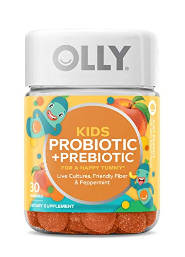 OLLY Kids Probiotic + Prebiotic Gummy, 30 Day Supply (30 Gummies), Just Peachy, Probiotics, Prebiotics, Peppermint, Chewable Supplement