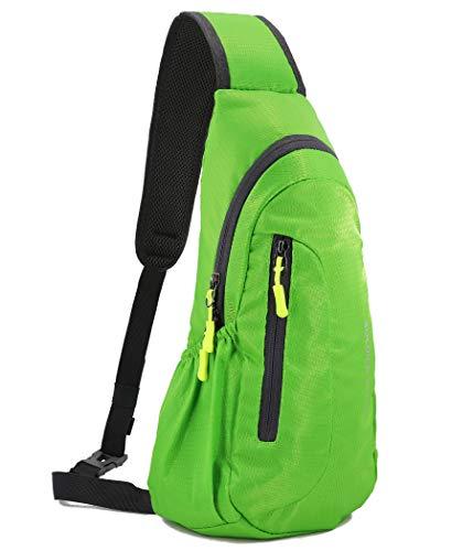 Gisdanchz Brusttasche Herren Klein Sport, Crossbodoy Slingbag Crossbag Mini Backpack Chest Bag Sling Bag Rucksack Herren Wasserdicht Sport Damen Klein Schultertasche Umhängetasche Sporttasche, Grün