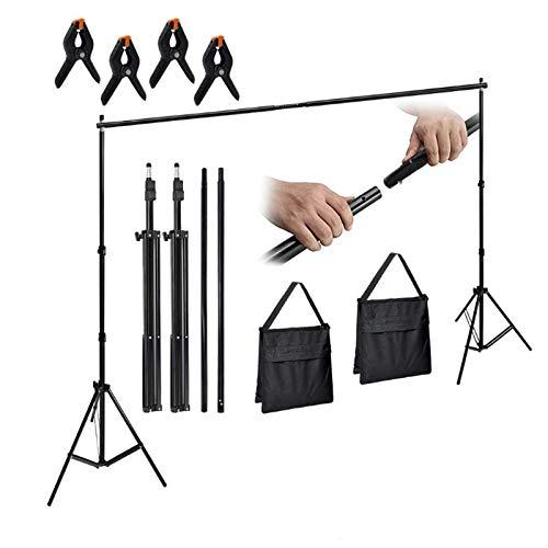 HENGMEI 2 x 3M Foto Hintergrund Ständer Set Verstellbarer aus Aluminiumlegierung Hintergrundständer mit Tragetasche für Fotostudio, 5 kg Tragfähigkeit