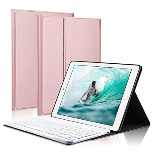Keyboard Case for iPad Pro 10.5', Wireless Bluetooth Keyboard Case with Ultra Slim Magnetically Detachable PU Leather Cover and Multi-Angle Stand Compatible with New iPad Air 3 2019/ iPad Pro 10.5