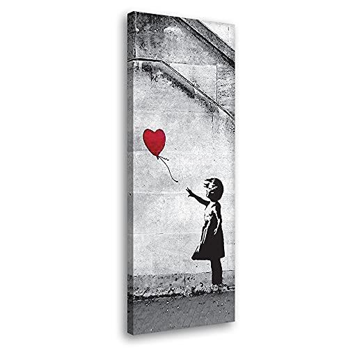 Cuadro moderno Banksy – Red Balloon Girl 30 x 90 cm Impresión sobre lienzo Canvas Decoración Arte Abstracto XXL Decoración para salón, dormitorio, cocina, oficina, bar, restaurante