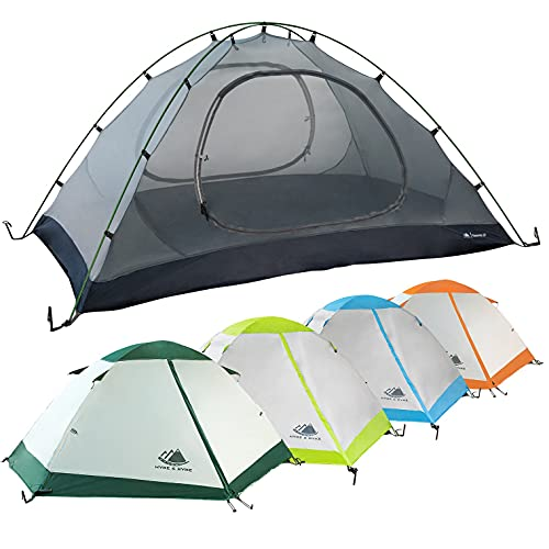 2 Person Backpacking Tent with Footprint – Lightweight Yosemite Two Man 3 Season, Waterproof, Ultra Compact 2p Freestanding Backpack Tents for Camping and Hiking by Hyke & Byke (Forest Green)