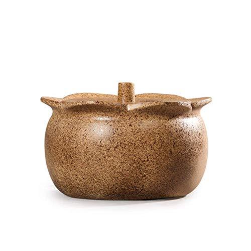 ZHHZ Olla de cerámica de Arcilla sin Plomo Hecha a Mano Original marroquí con Tapa Olla de Barro Resistente a Altas temperaturas de Gas doméstico Estufa de Gas Cocina Especial 3.4l