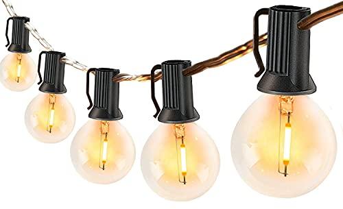 LED Lichterkette Außen mit 30 Glühbirnen für Sommer, 10M Lichterkette Retro aussen/innen warmweiße, Wetterfeste G40 Lichterketten Glühbirnen...
