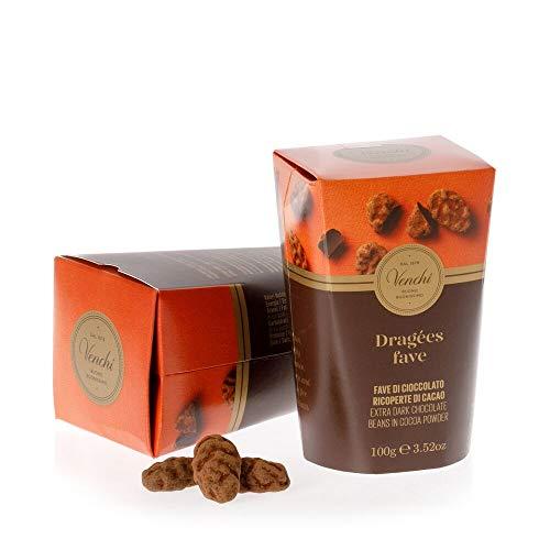 Venchi Fave Cuor Di Cacao, Fave Di Cioccolato Ricoperte Di Cacao - Senza Glutine, 100 Grammo