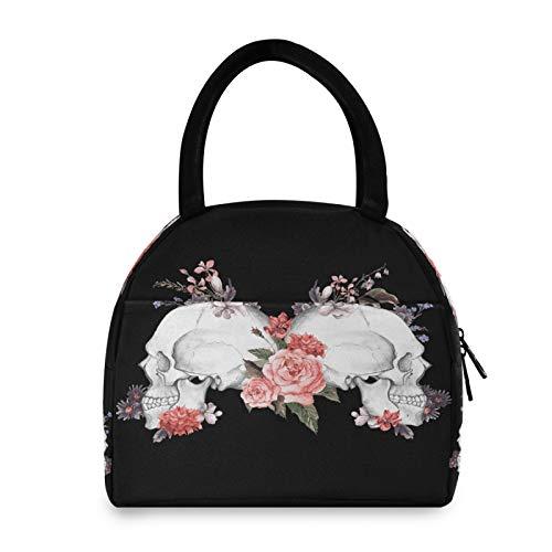 Bolsa de almuerzo BGIFT con diseño de calavera de rosas y azúcar, para mujeres, con aislamiento térmico, reutilizable, a prueba de fugas, para hombres, niños, niñas, escuela, trabajo, picnic