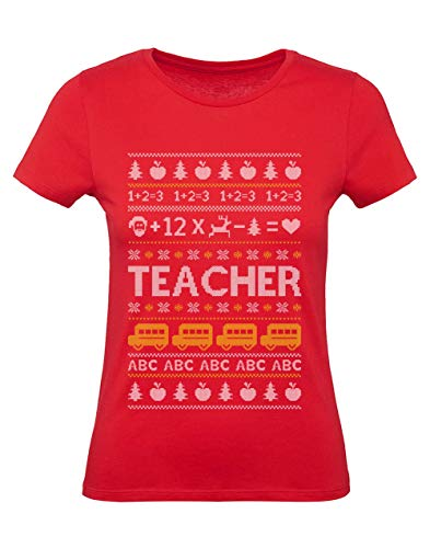 Green Turtle Camiseta para Mujer - Regalo Navidad Maestra Navidad Profesora - Teacher - Small Rojo