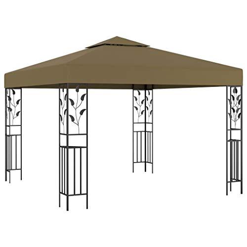 vidaXL Pavillon UV-beständig Doppeldach-Design Gartenzelt Partyzelt Festzelt Gartenpavillon Bierzelt Garten Zelt 3x3m Taupe 180g/m²