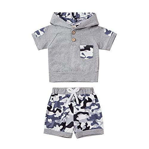 Chándal de verano para bebé y niño con capucha, manga corta, camiseta + pantalones cortos elásticos para niñas pequeñas