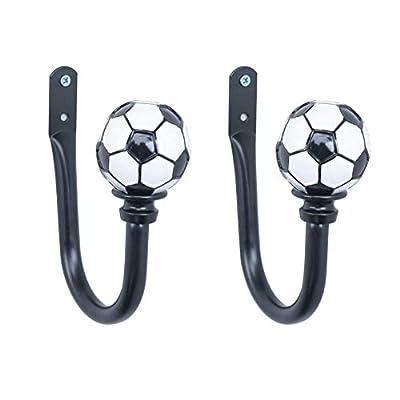 EleCharm Curtain Holdbacks Creative Soccer, Owl Wall Hooks Hanger for Drapes Tassel Linen Holder Window Treatment Hardware,Set of 2 (Soccer Black)