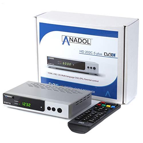 Anadol HD 202c-s Plus digitaler Full HD 1080p Kabel-Receiver [Kabelfernsehen für jeden Kabel-Anbieter geeignet] HDTV, DVB-C / C2, HDMI, SCART, Coaxial, Mediaplayer, USB 2.0 – Kabelreceiver Silber