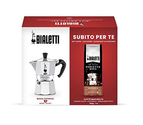 Bialetti 3531 Express, 3 Tassen Kaffeemaschine + Perfetto Moka gemahlener Kaffee 200 gr Haselnussgeschmack, Geschenkbox, Aluminium, 0003531