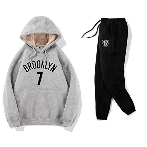 Haoshangzh55 Pantalones Cortos De Baloncesto/Brooklyn Nets # 7 Kevin Durant Rojo Traje De Entrenamiento Deportivo De Dos Piezas Lana De Cordero Engrosada Pantalones De Suéter,Suits,M