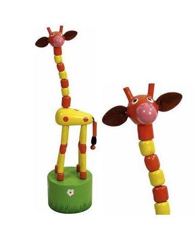 Ulysse Jouet Wakouwa en Bois Girafe Marionnette Animaux à Poussoir Enfant 3 Ans + - Orange