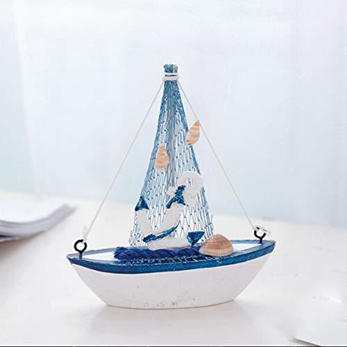 Delleu Segelboot-Modell, Retro-Holz, mediterraner Stil, Mini-Segelboot-Modell, Heimdekoration, 06, 11 x 3 x 12.5cm