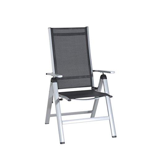 greemotion Klappsessel Monza silber/schwarz, für den Innen- und Außenbereich, Gartenstuhl mit 7- fach verstellbarer Rückenlehne, schmutzunempfindlich und pflegeleicht, Sitzmaße: ca. 41 x 42 x 44 cm