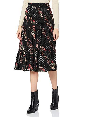Vila VIMASTI Midi Skirt/KA Falda, Negro/Estampado: Mezcla de Estampado de Flores, 40 para Mujer