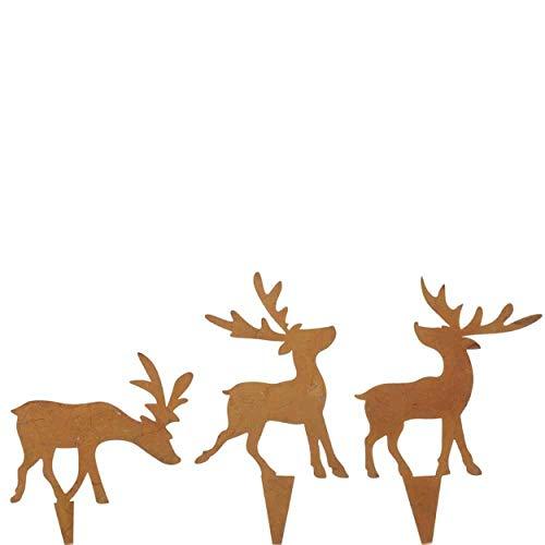 Unbekannt 12x rostige Hirsch Stecker 7cm Blumenkasten Adventskranz Weihnachtsschmuck Weihnachten