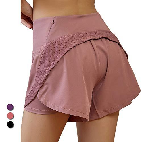 VIKMKM Pantaloncini da Corsa 2 in 1 da Donna Vita Alta con Tasca Posteriore, Asciugatura Rapida Traspirante per Esercizio di Allenamento, Jogging,Rosa,XL