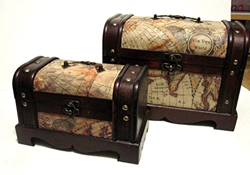 Set of 2 Vintage Style Old World Map Wooden Trunk Storage Box