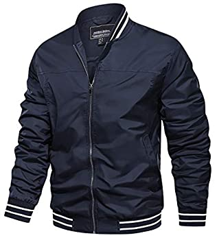 TACVASEN Lightweight Windbreaker Jackets for Men Casual Active Jackets Full Zip Navy L