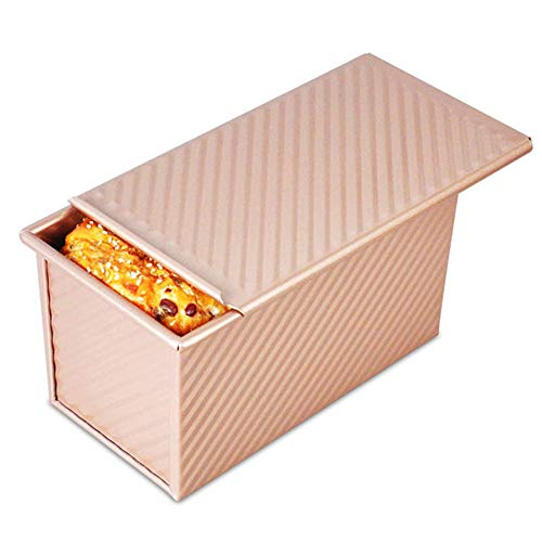 Falytemow Loaf Pan with Lid Non-stick Rectangle Corrugated Toast Box with Cover Steel Bakeware Mould for Oven Baking Bread 7.67 x 4.25 x 4.13 inch (Champagne Gold)