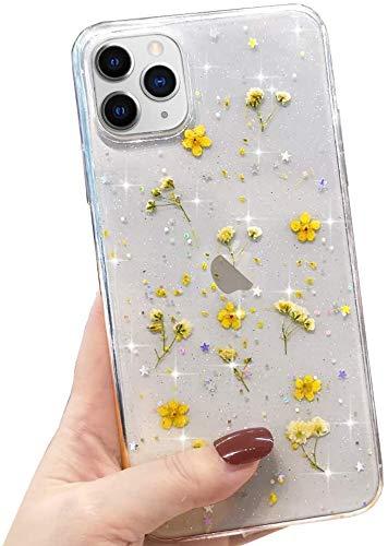 LCHULLE Handyhülle iPhone 11 Hülle Blume gepresst Handyhülle Echt Getrocknete Blumen Schutzhülle Silikon Rückschale TPU Bumper Hülle Cover für iPhone 11 Gelb