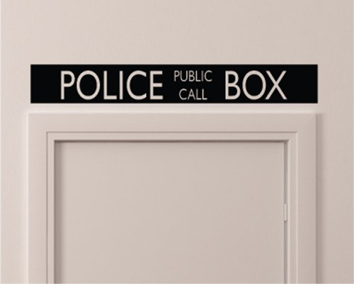 Vintage Style Police Public Call Box Telephone Bedroom Closet Door - 36 Inch By 5 Inch Black Wall Vinyl Decal Decorative