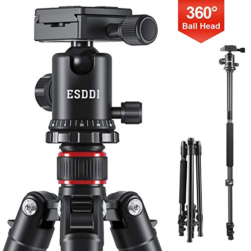 ESDDI Camera Tripod, DSLR Tripod with 360° Ball Head, 64 Aluminum Tripod with Monopod 1/4 Quick Release Plate and Phone Holder for Vlog,Travel and Work