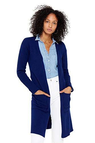 State Cashmere Mid-Length 100% Pure Cashmere Open Cardigan Long Sleeve Sweater for Women (Medium, Blue)