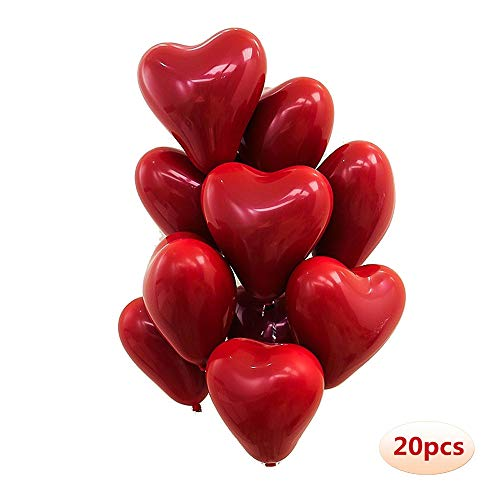 Heart Latex Balloon 10 inch Ruby Red Balloon Valentine Day Wedding Party Decoration 20 Pcs/Pack
