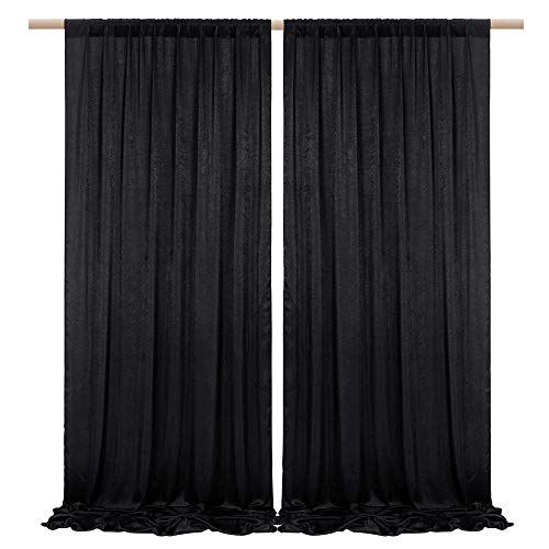 SHERWAY 2 Panels 4.8 Feet x 10 Feet Black Thick Satin Backdrop Drapes, Non-Transparent Window Curtains for Wedding Bridal Shower Birthday Anniversary Christmas Party Stage Decor