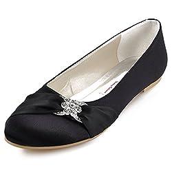 Black Closed Rhinestones Comfort Flats Pleated Satin Shoes
