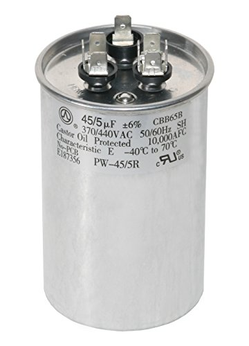 PowerWell 45+5 MFD 45/5 uf 370 or 440 Volt Dual Run Round Capacitor PW-45/5/R for Condenser Straight Cool or Heat Pump Air Conditioner - Guaranteed to Last 5 Years
