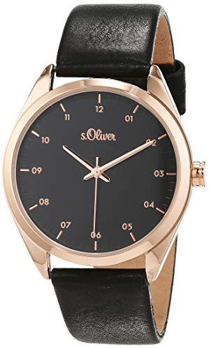 s.Oliver Damen Analog Quarz Uhr mit Leder Armband SO-3733-LQ