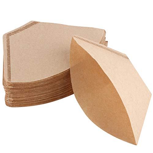 Cone Coffee Paper - 100 filtros de café para cafeteras y filtros de mano, 100 hojas, color marrón natural sin blanquear