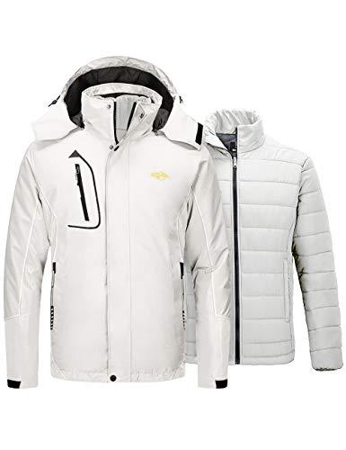 Wantdo Men's Warm 3 in 1 Ski Jacket Waterproof Winter Snow Coat Off White Large