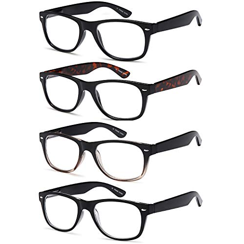 Gamma Ray Reading Glasses - 4 Pairs Spring Hinge Readers for Men and Women 3.00