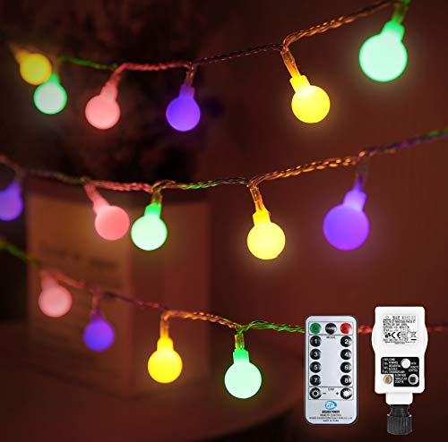 Othran Globe String Lights Mains Powered, 33FT 100 LED Multicolour Fairy Lights Plug in, 8 Modes/Remote Control/Timer, Waterproof Festoon Lights for Outdoor Indoor Christmas Tree Party Decor