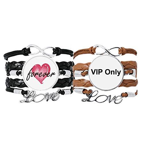 Bestchong VIP Only - Pulsera con patrón de símbolo negro con correa de mano, cuerda de cuero para siempre amor