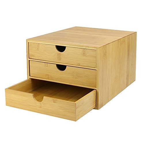 Bambus Schreibtisch Organizer mit 3 Schubladen | Office Aufbewahrung |Schreibtischzubehör | Schubladen für Büromaterial |Schreibtisch ordentlich| M&W (Schmale Öffnung)