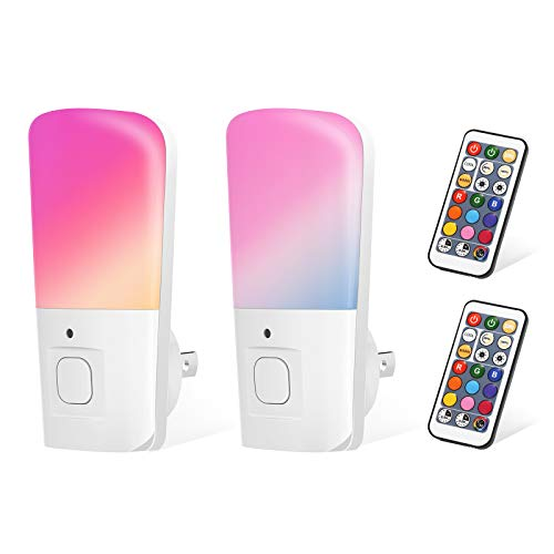 LOHAS RGB Night Light Plug in, LED Color Changing Remote Control Nightlights, Dimmable Daylight Soft Wall Night Light, Timing Off Mini Night Lighting for Kids, Bedroom, Kitchen, Nursery, 2 Pack