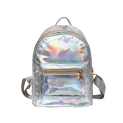 CHIC DIARY Silber/Pink Rucksack Damen Mädchen Schulrucksack Daypack aus Laser Kunstleder Holo-Rucksack für Reise Outdoor Shopping (Silber)