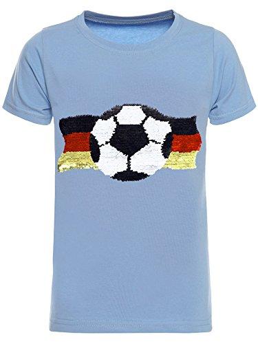 BEZLIT Deutschland Jungen Kinder Wende-Pailletten Fussball WM 2018 Fan T Shirt 22513 Blau Größe 152