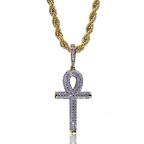 TOPGRILLZ 14K Gold Plated Fully Iced Out CZ Simulated Diamond Egyptian Ankh Cross Hip Hop Pendant Necklace (Gold and Silver)