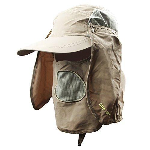 Unisex Sombrero de sol gorra visera/béisbol deporte secado rápido protección solar sombrero de Plein Air con máscara extraíble UV/mosquitos transpirable para pesca Ciclismo Caza UPF50 +