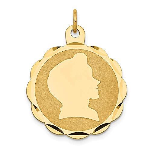 Saris and Things 14k gelbgold Boy Kopf auf 0,011 spur engravable ausgebogte disc Charm