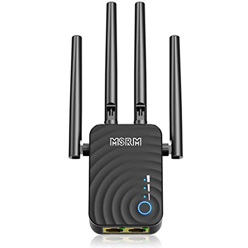 1200Mbps WiFi Range Extender, US754 Signal Amplifier Booster with 4 Band Antennas Complies 802.11a/b/n/g/ac WiFi Extender