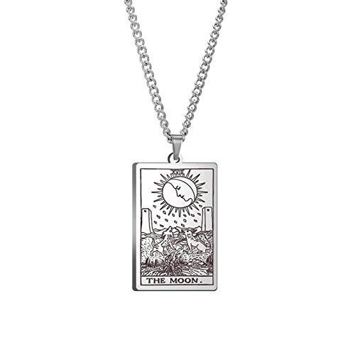 WUJIAO Tarotkarten, die Tarotkarten des Great Treasure Moon, 18 mysteriöse Halsketten, die höchste Amulettkette für Männer Silver