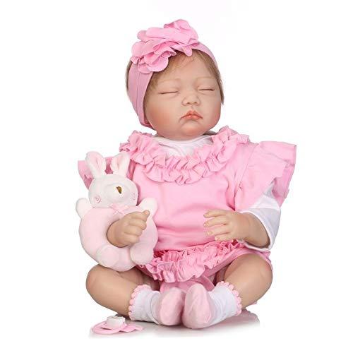 iCradle Bambole 22 Pollici 55 cm Slpeeing Girl Simulazione Bambola Silicone Vinile Reborn Baby Doll Realistici Bebe Reborn Doll Dolls Giocattoli per Bambini Regali da Collezione Regali